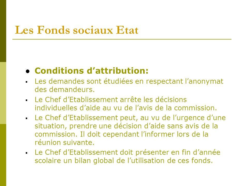 Les Fonds sociaux Etat Conditions dattribution: Les demandes sont étudiées en respectant lanonymat des demandeurs. Le Chef dEtablissement arrête les d