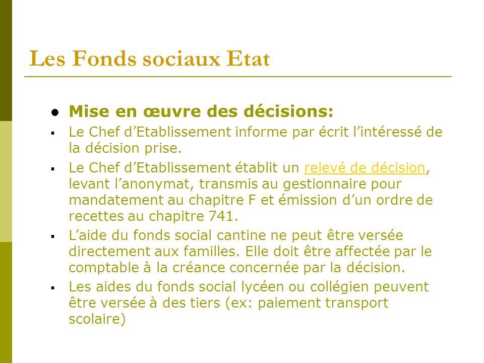 Les Fonds sociaux Etat Mise en œuvre des décisions: Le Chef dEtablissement informe par écrit lintéressé de la décision prise. Le Chef dEtablissement é