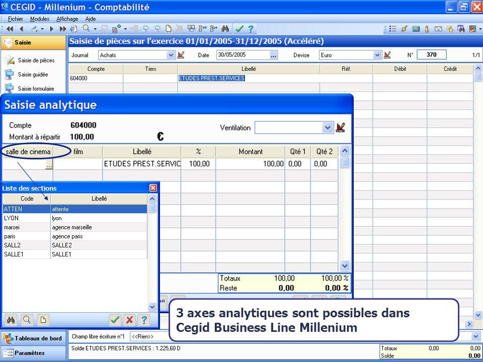 3 axes analytiques sont possibles dans Cegid Business Line Millenium