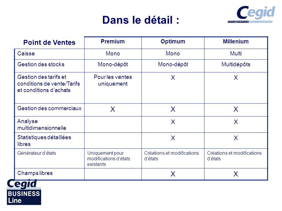 Dans le détail : Point de Ventes PremiumOptimumMillenium CaisseMono Multi Gestion des stocksMono-dépôt Multidépôts Gestion des tarifs et conditions de