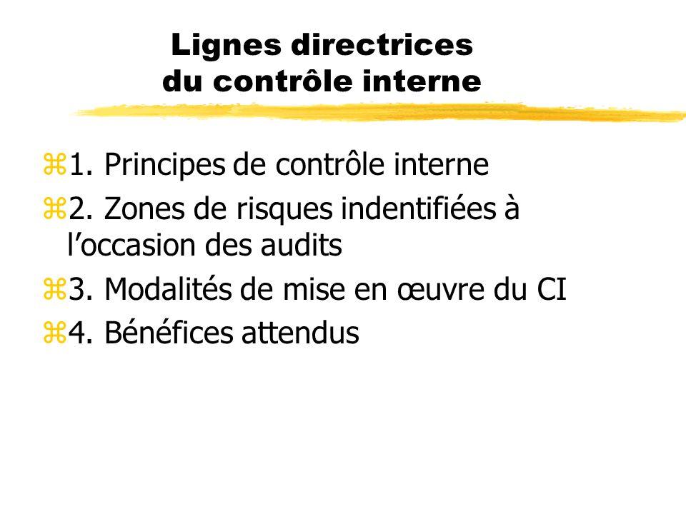 Lignes directrices du contrôle interne z1. Principes de contrôle interne z2. Zones de risques indentifiées à loccasion des audits z3. Modalités de mis