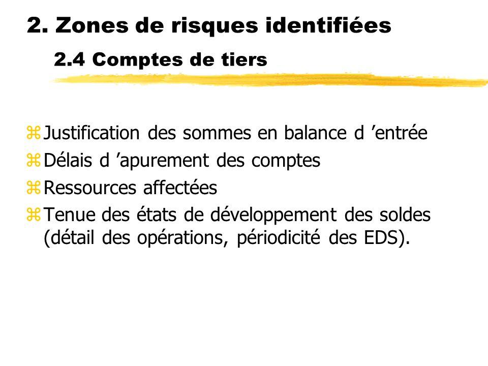 2.4 Comptes de tiers zJustification des sommes en balance d entrée zDélais d apurement des comptes zRessources affectées zTenue des états de développe