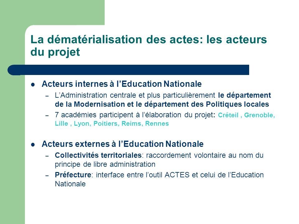 La dématérialisation des actes: les acteurs du projet Acteurs internes à lEducation Nationale – LAdministration centrale et plus particulièrement le d