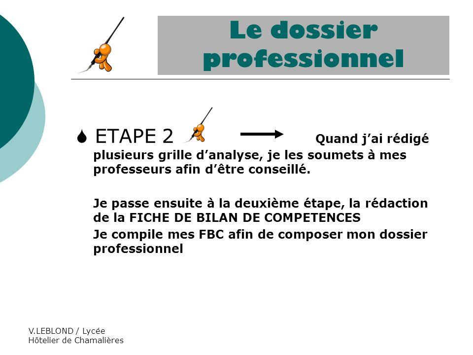 V.LEBLOND / Lycée Hôtelier de Chamalières ETAPE 2 Quand jai rédigé plusieurs grille danalyse, je les soumets à mes professeurs afin dêtre conseillé. J