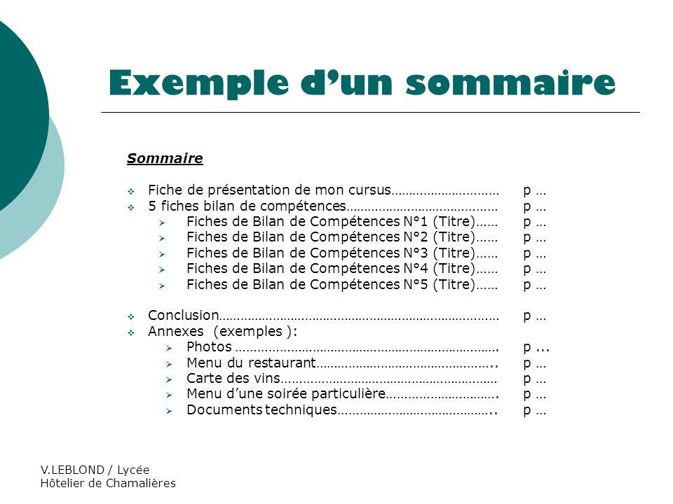 V.LEBLOND / Lycée Hôtelier de Chamalières Exemple dun sommaire Sommaire Fiche de présentation de mon cursus…………………………p … 5 fiches bilan de compétences