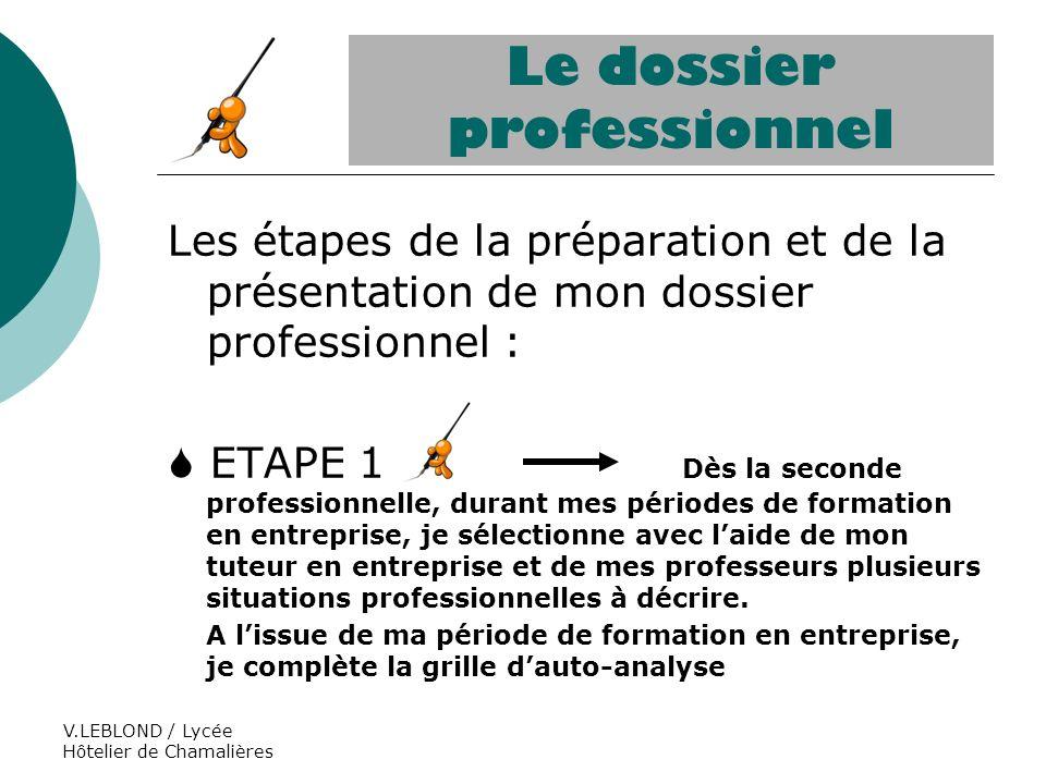 V.LEBLOND / Lycée Hôtelier de Chamalières Le dossier professionnel Les étapes de la préparation et de la présentation de mon dossier professionnel : E