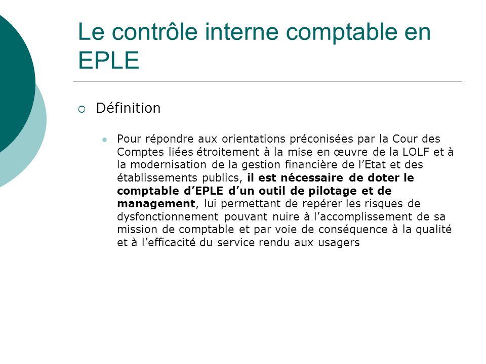 Le contrôle interne comptable en EPLE Définition Pour répondre aux orientations préconisées par la Cour des Comptes liées étroitement à la mise en œuv