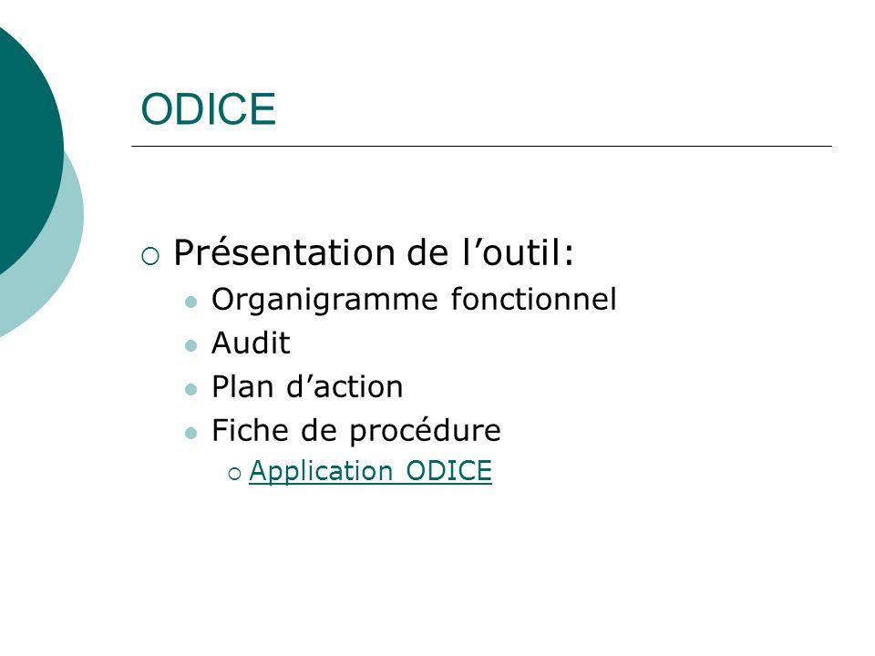 ODICE Présentation de loutil: Organigramme fonctionnel Audit Plan daction Fiche de procédure Application ODICE