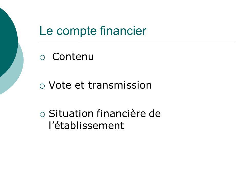 Le compte financier Contenu Vote et transmission Situation financière de létablissement