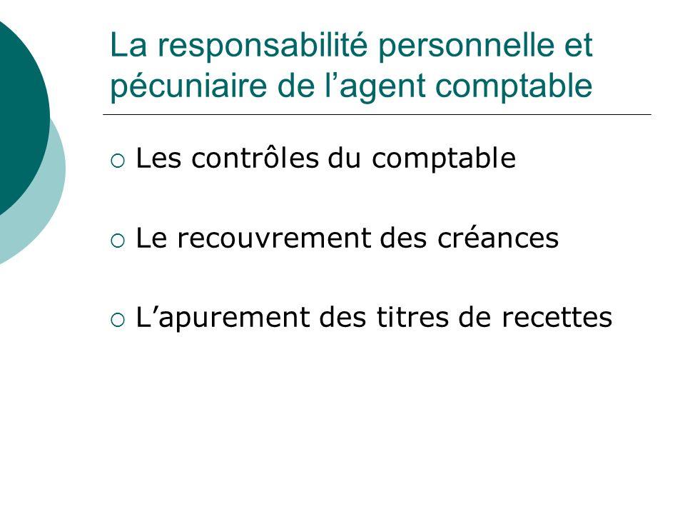 La responsabilité personnelle et pécuniaire de lagent comptable Les contrôles du comptable Le recouvrement des créances Lapurement des titres de recet