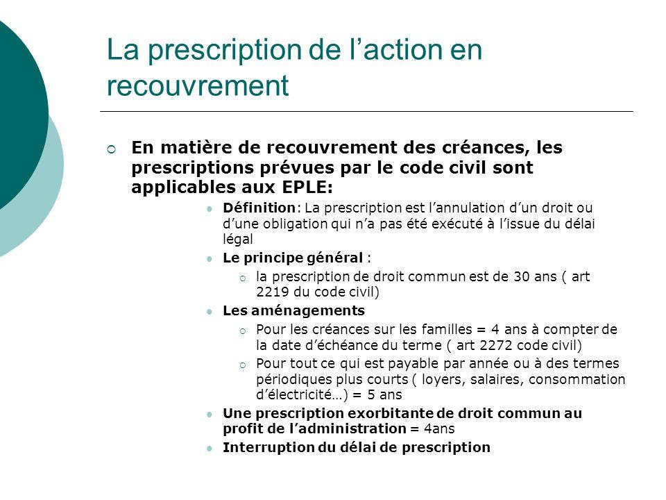 La prescription de laction en recouvrement En matière de recouvrement des créances, les prescriptions prévues par le code civil sont applicables aux E