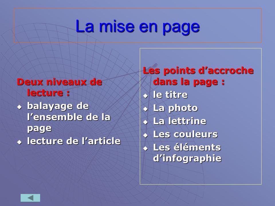 La mise en page Deux niveaux de lecture : balayage de lensemble de la page balayage de lensemble de la page lecture de larticle lecture de larticle Le