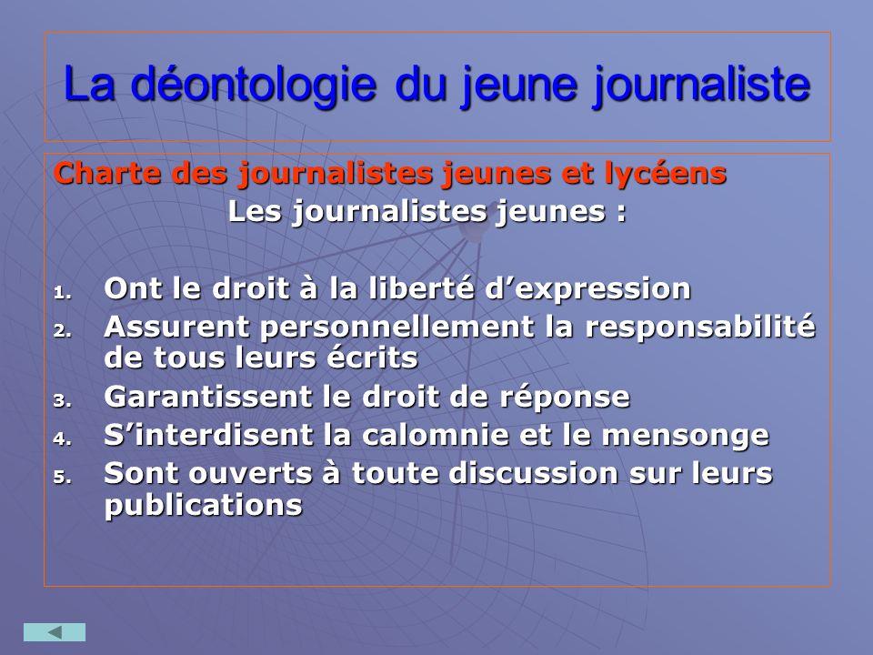 La déontologie du jeune journaliste Charte des journalistes jeunes et lycéens Les journalistes jeunes : 1. Ont le droit à la liberté dexpression 2. As