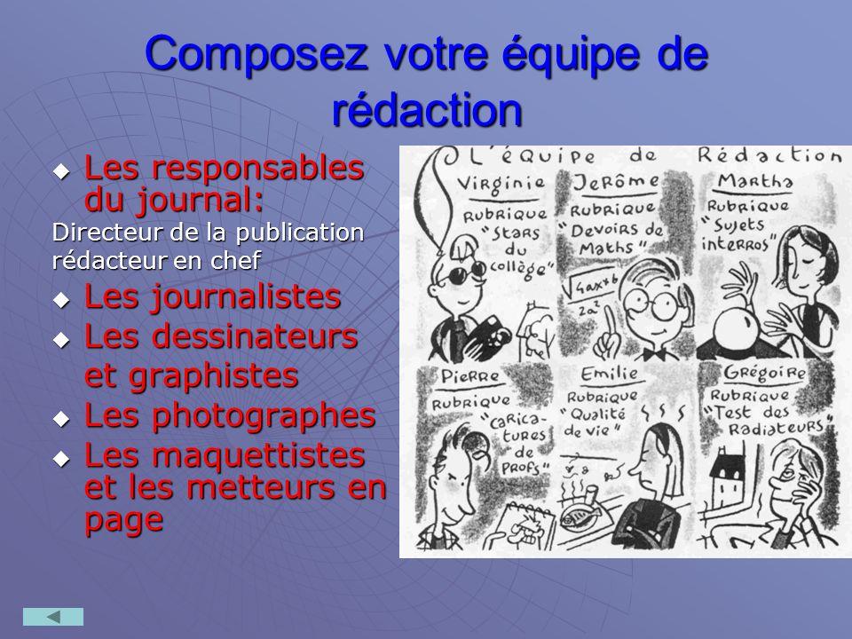 Composez votre équipe de rédaction Les responsables du journal: Les responsables du journal: Directeur de la publication rédacteur en chef Les journal