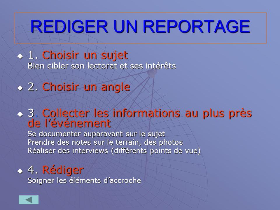 REDIGER UN REPORTAGE 1. Choisir un sujet 1. Choisir un sujet Bien cibler son lectorat et ses intérêts 2. Choisir un angle 2. Choisir un angle 3. Colle