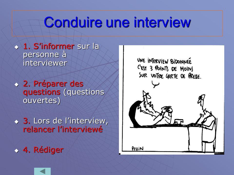 Conduire une interview 1. Sinformer sur la personne à interviewer 1. Sinformer sur la personne à interviewer 2. Préparer des questions (questions ouve