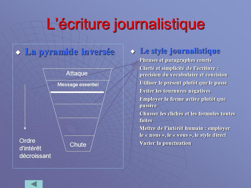 Lécriture journalistique La pyramide inversée La pyramide inversée Le style journalistique Le style journalistique - Phrases et paragraphes courts - C