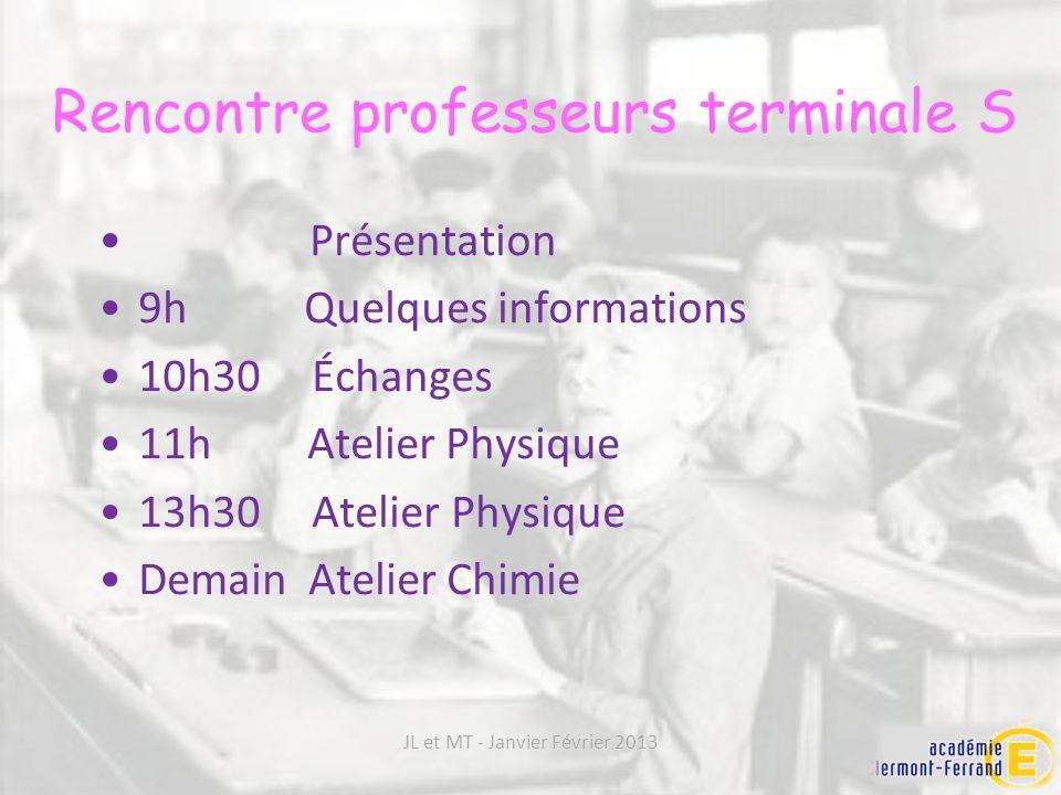 Présentation 9h Quelques informations 10h30 Échanges 11h Atelier Physique 13h30 Atelier Physique Demain Atelier Chimie Rencontre professeurs terminale