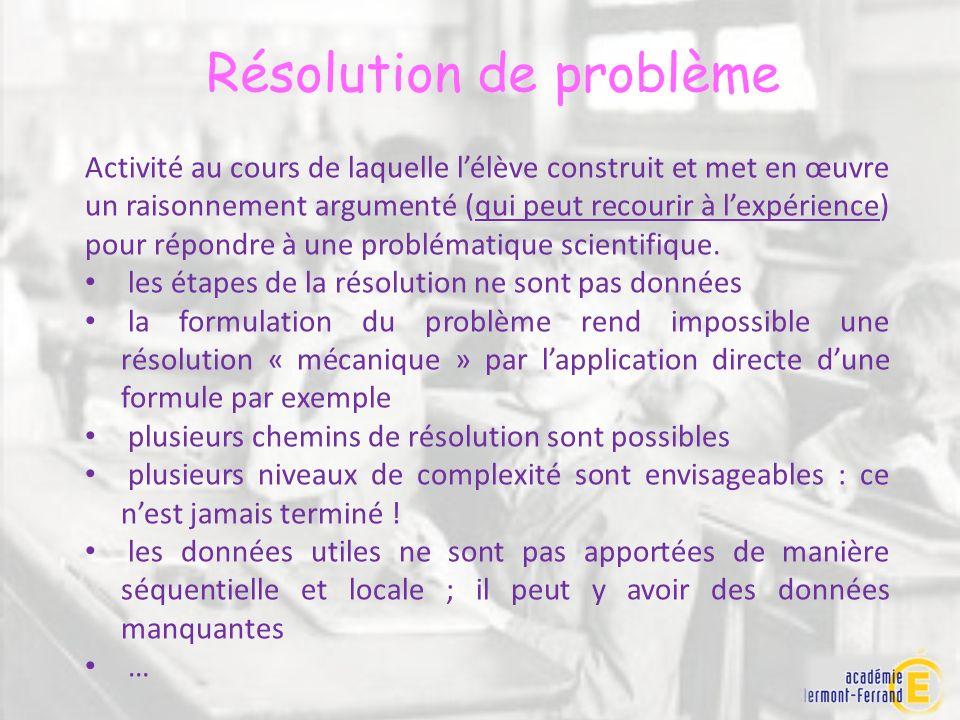 Résolution de problème Activité au cours de laquelle lélève construit et met en œuvre un raisonnement argumenté (qui peut recourir à lexpérience) pour