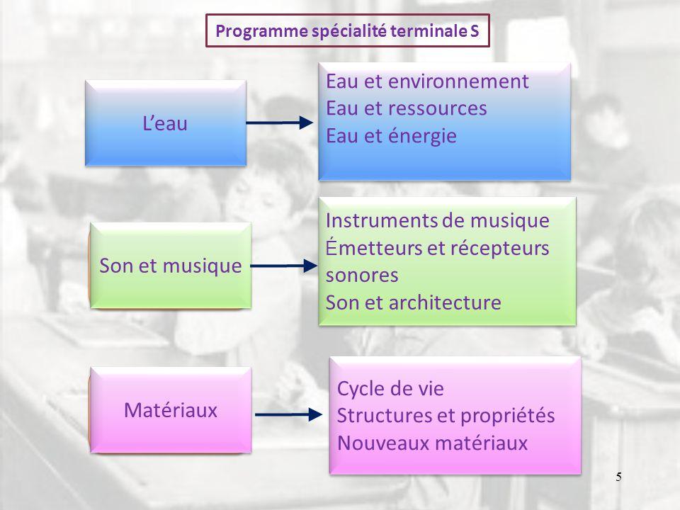 Programme spécialité terminale S Leau Eau et environnement Eau et ressources Eau et énergie Eau et environnement Eau et ressources Eau et énergie Son