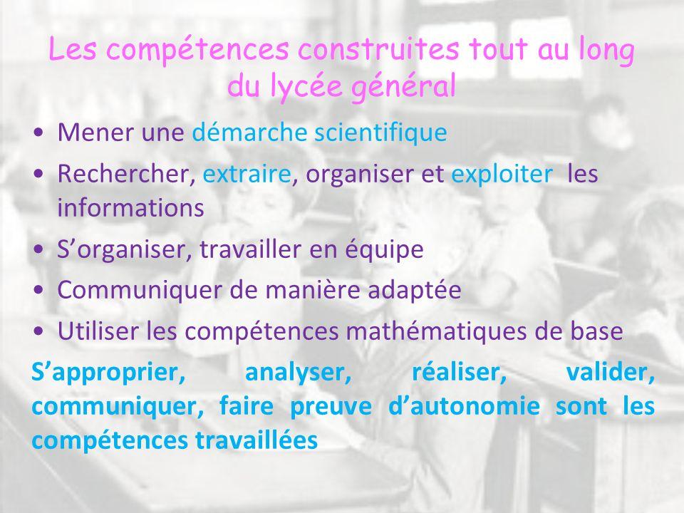 Les compétences construites tout au long du lycée général Mener une démarche scientifique Rechercher, extraire, organiser et exploiter les information