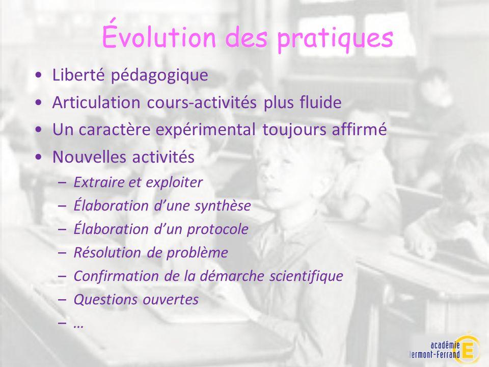 Liberté pédagogique Articulation cours-activités plus fluide Un caractère expérimental toujours affirmé Nouvelles activités –Extraire et exploiter –Él