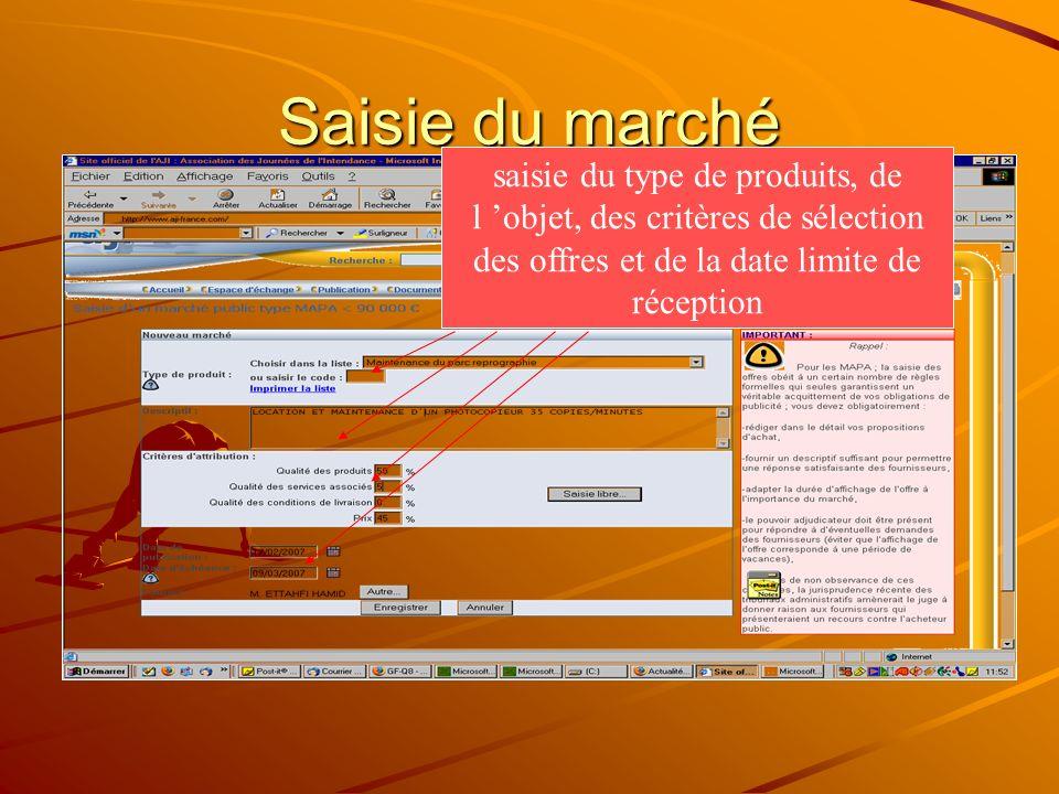 Pièce jointe Possibilité de joindre des pj : cahier des charges, bordereau des prix…..