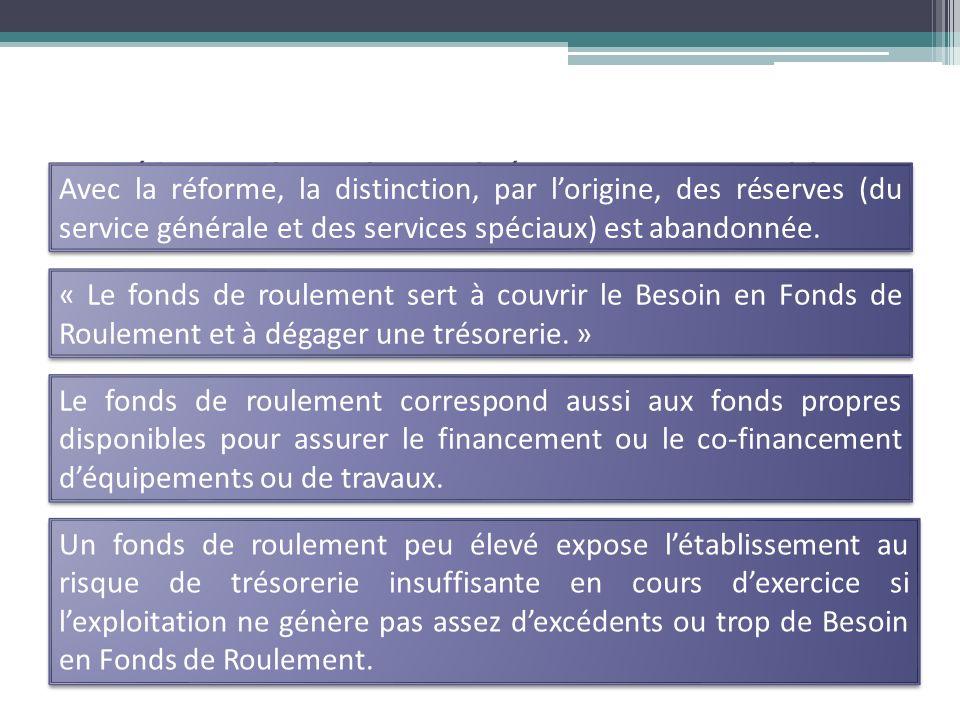 La Réforme du Cadre Budgétaire et Comptable Avec la réforme, la distinction, par lorigine, des réserves (du service générale et des services spéciaux) est abandonnée.