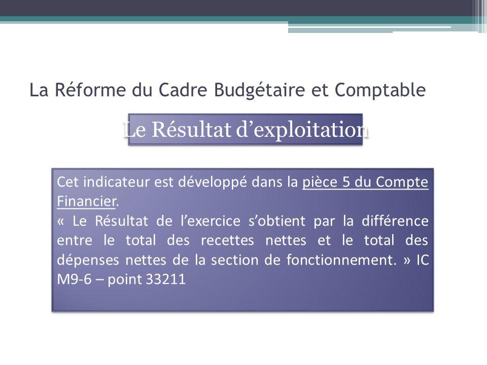 La Réforme du Cadre Budgétaire et Comptable Cet indicateur est développé dans la pièce 5 du Compte Financier.