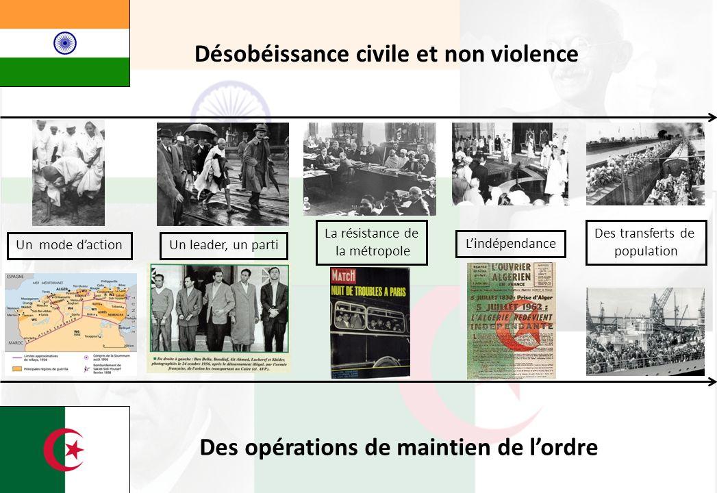 Un mode dactionUn leader, un parti La résistance de la métropole Lindépendance Des transferts de population Désobéissance civile et non violence Des o