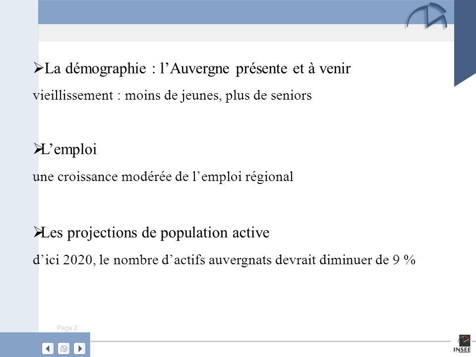 Page 3 Source : modèle Omphale 2000 – scénario central, INSEE Une région marquée par son vieillissement où les jeunes générations sont sous représentées