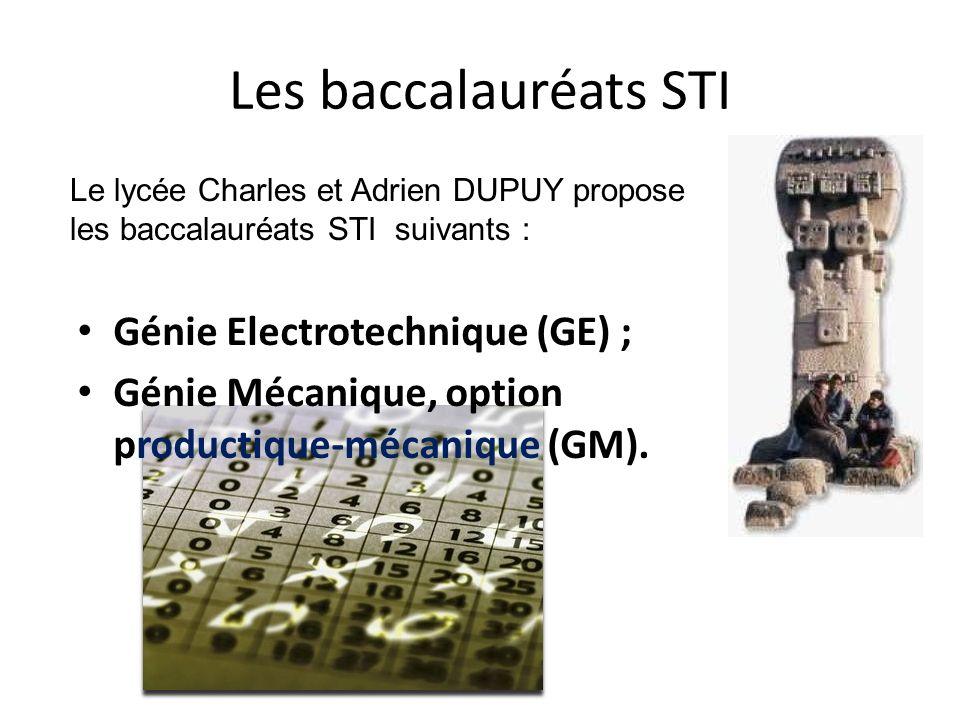 Les baccalauréats STI Génie Electrotechnique (GE) ; Génie Mécanique, option productique-mécanique (GM). Le lycée Charles et Adrien DUPUY propose les b