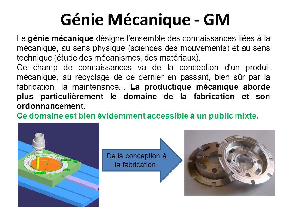 Génie Mécanique - GM Le génie mécanique désigne l'ensemble des connaissances liées à la mécanique, au sens physique (sciences des mouvements) et au se