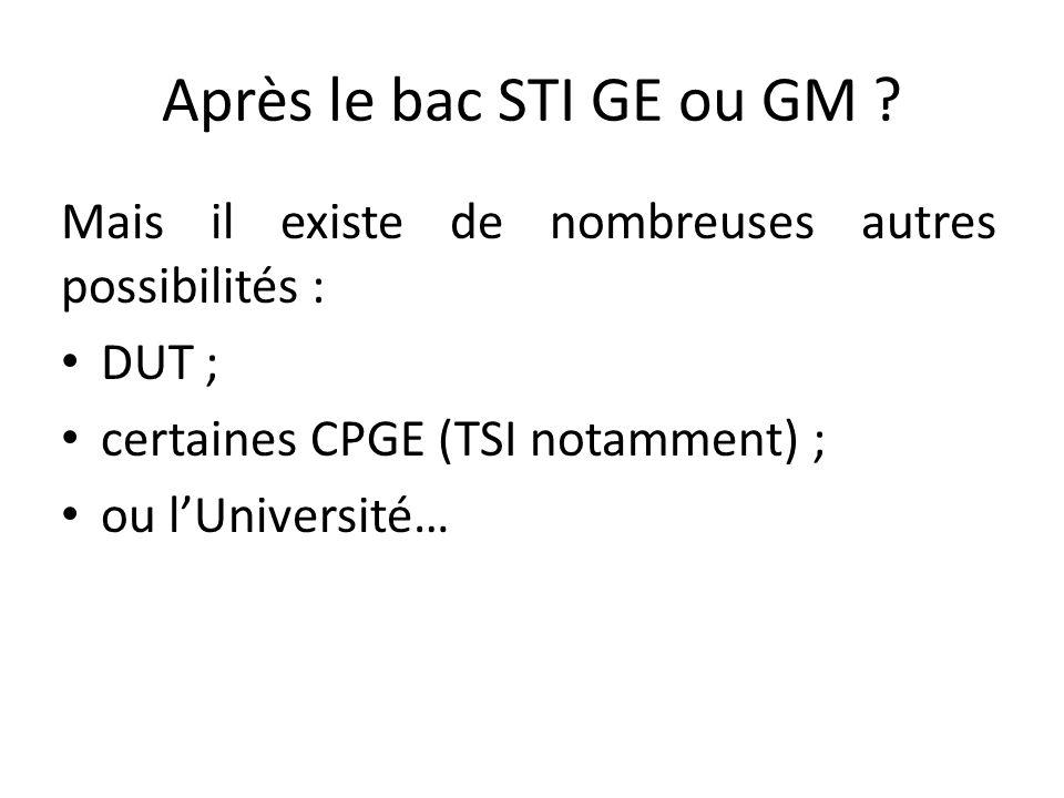 Après le bac STI GE ou GM ? Mais il existe de nombreuses autres possibilités : DUT ; certaines CPGE (TSI notamment) ; ou lUniversité…