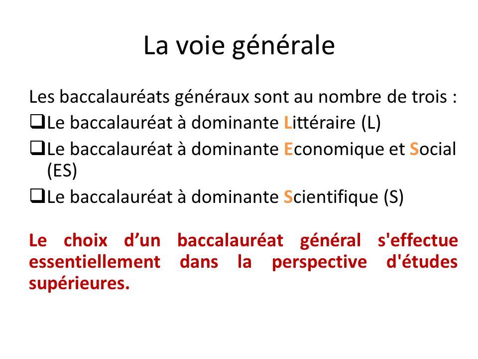 La voie générale Les baccalauréats généraux sont au nombre de trois : Le baccalauréat à dominante Littéraire (L) Le baccalauréat à dominante Economiqu
