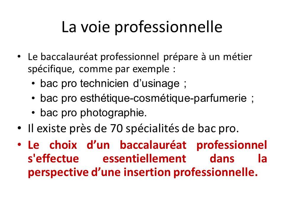 La voie professionnelle Le baccalauréat professionnel prépare à un métier spécifique, comme par exemple : bac pro technicien dusinage ; bac pro esthét