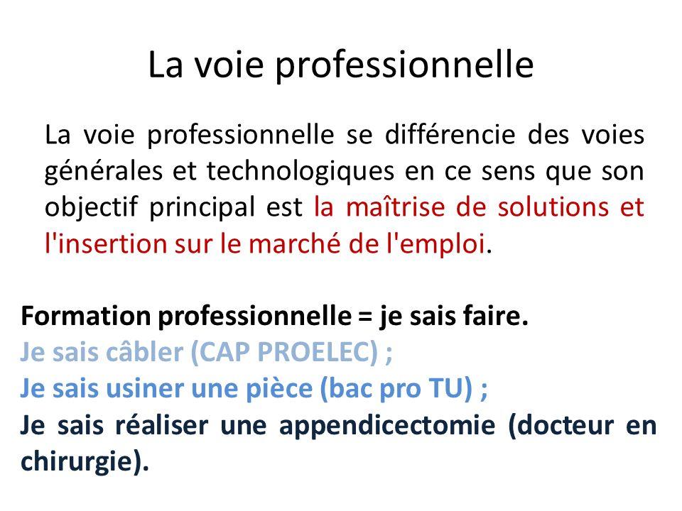 La voie professionnelle La voie professionnelle se différencie des voies générales et technologiques en ce sens que son objectif principal est la maît