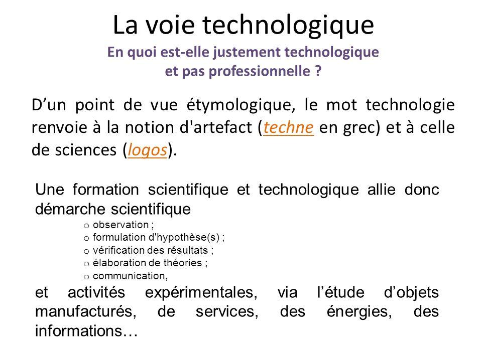La voie technologique En quoi est-elle justement technologique et pas professionnelle ? Dun point de vue étymologique, le mot technologie renvoie à la