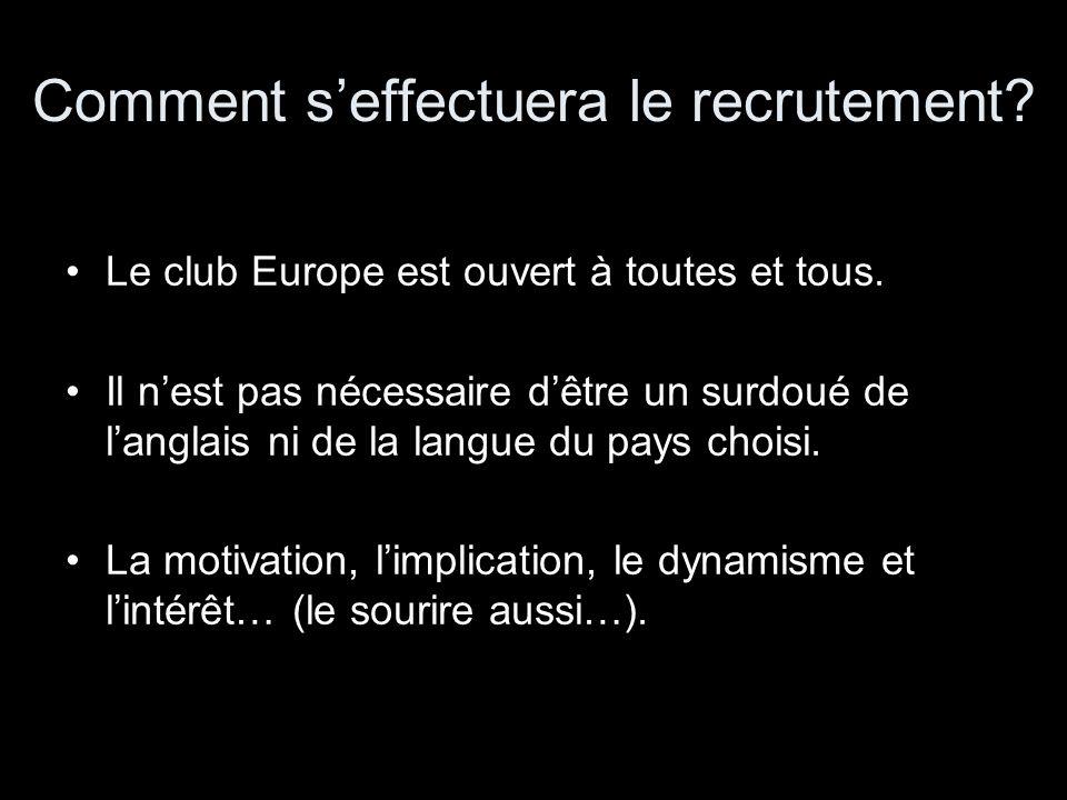 Comment seffectuera le recrutement? Le club Europe est ouvert à toutes et tous. Il nest pas nécessaire dêtre un surdoué de langlais ni de la langue du