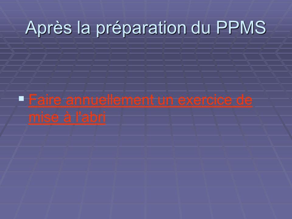 Après la préparation du PPMS Faire annuellement un exercice de mise à l'abri
