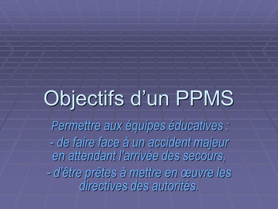 Objectifs dun PPMS Permettre aux équipes éducatives : - de faire face à un accident majeur en attendant l'arrivée des secours, - d'être prêtes à mettr