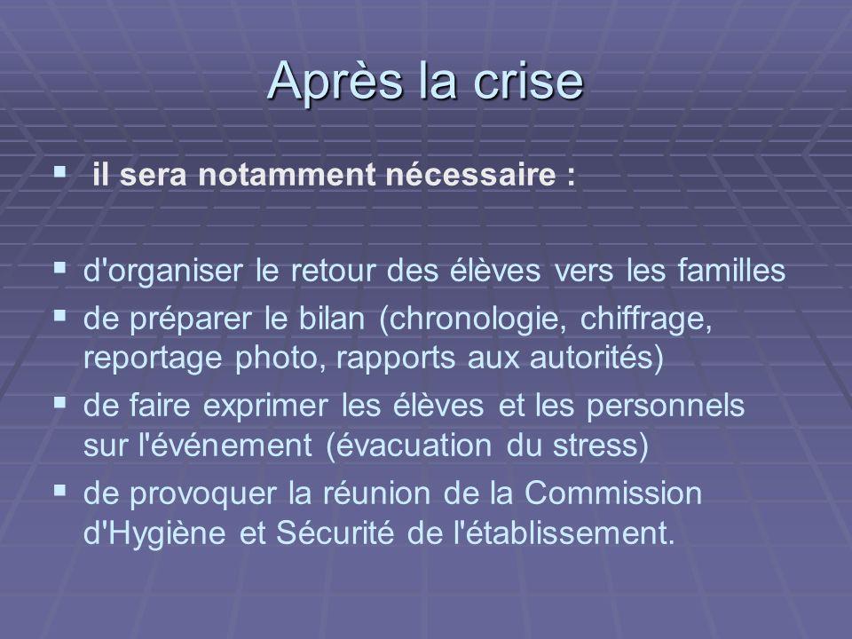 Après la crise il sera notamment nécessaire : d'organiser le retour des élèves vers les familles de préparer le bilan (chronologie, chiffrage, reporta