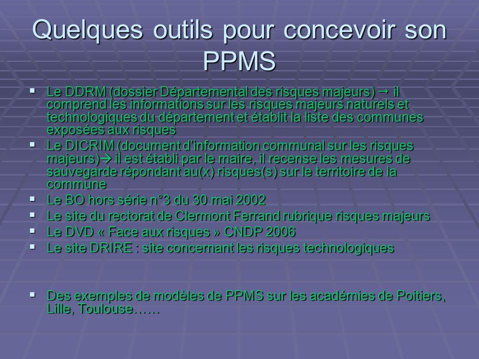 Quelques outils pour concevoir son PPMS Le DDRM (dossier Départemental des risques majeurs) il comprend les informations sur les risques majeurs natur