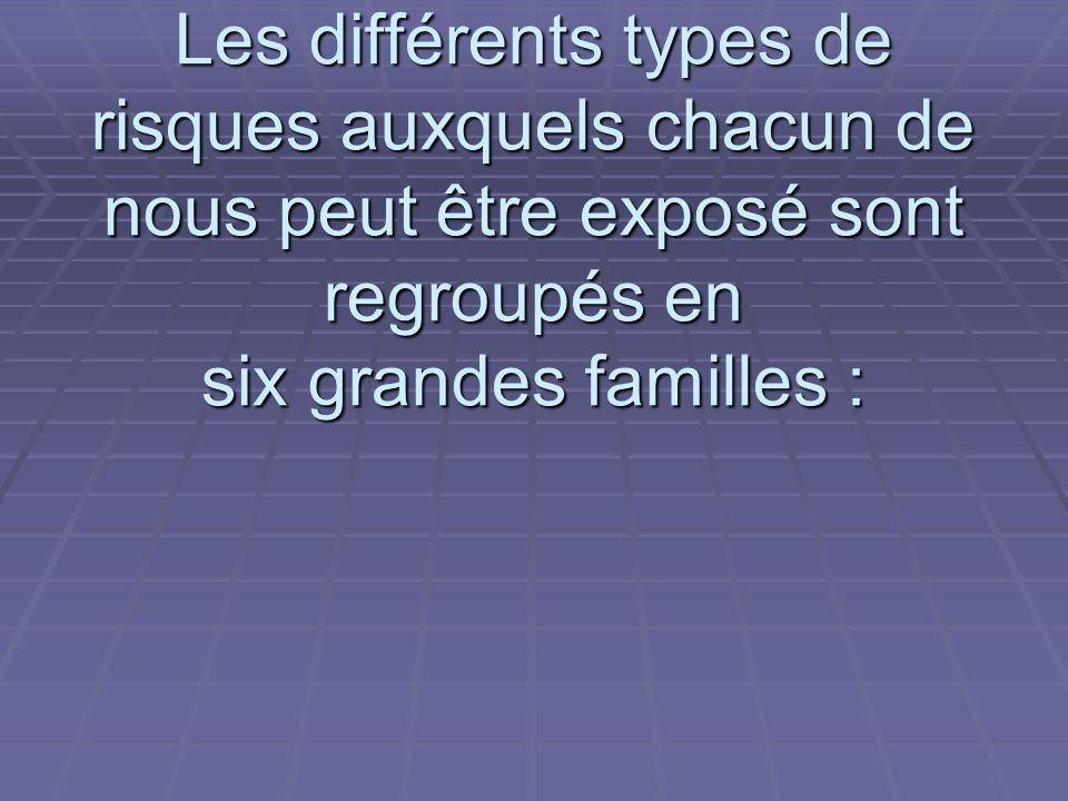 Les différents types de risques auxquels chacun de nous peut être exposé sont regroupés en six grandes familles :