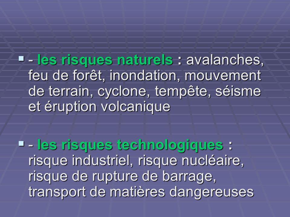 - les risques naturels : avalanches, feu de forêt, inondation, mouvement de terrain, cyclone, tempête, séisme et éruption volcanique - les risques nat