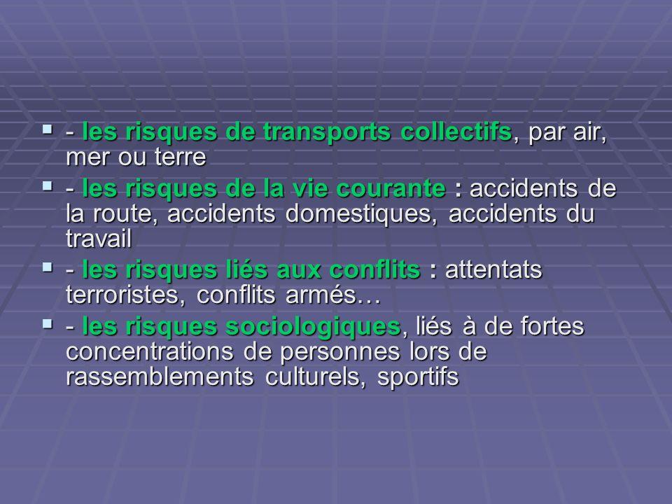 - les risques de transports collectifs, par air, mer ou terre - les risques de transports collectifs, par air, mer ou terre - les risques de la vie co