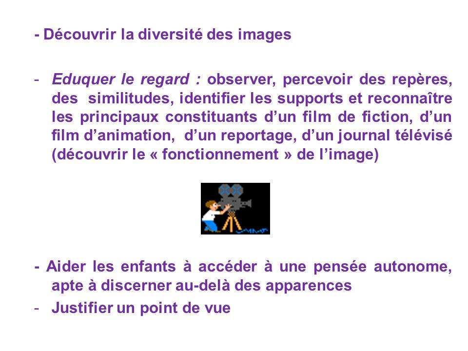 - Découvrir la diversité des images -Eduquer le regard : observer, percevoir des repères, des similitudes, identifier les supports et reconnaître les