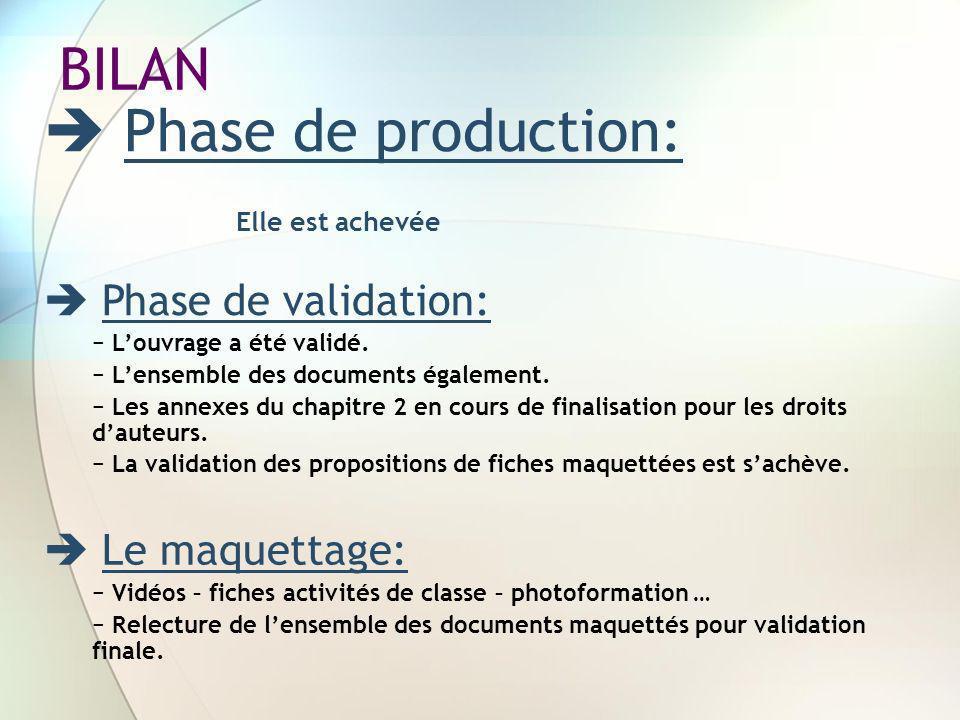 BILAN Phase de production: Elle est achevée Phase de validation: Louvrage a été validé. Lensemble des documents également. Les annexes du chapitre 2 e