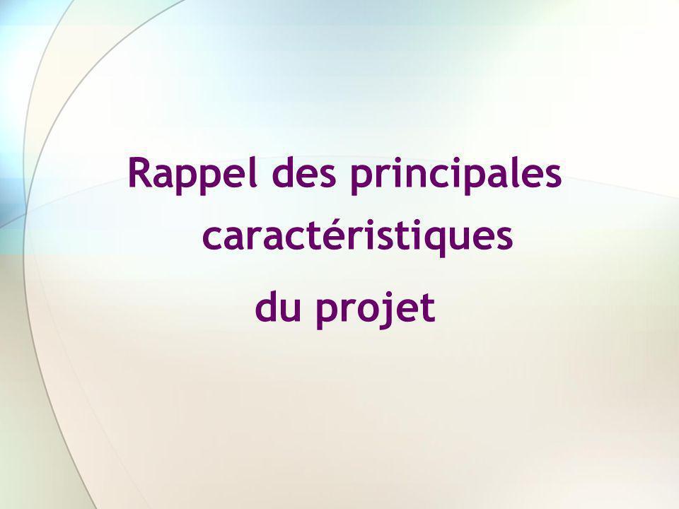 Rappel des principales caractéristiques du projet