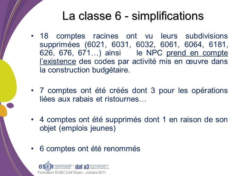 Formation RCBC DAF/Esen - octobre 2011 La classe 6 - simplifications 18 comptes racines ont vu leurs subdivisions supprimées (6021, 6031, 6032, 6061,
